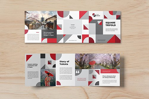 Square Trifold Japanesse Brochure