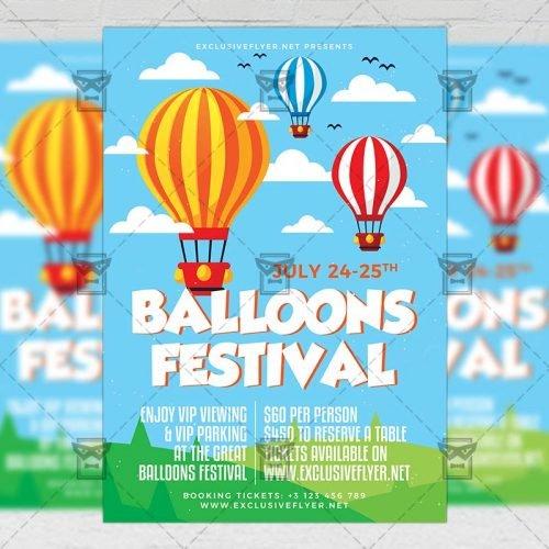 PSD Club A5 Template - Balloons Festival Flyer