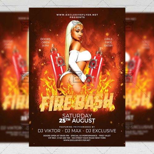 PSD Club A5 Template - Fire Bash Flyer