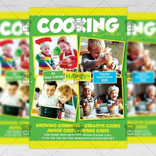 PSD Kids A5 Template - Kids Cookout Classes Flyer