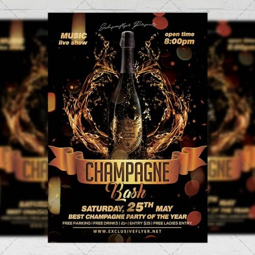 PSD Club A5 Template - Champagne Bash Flyer