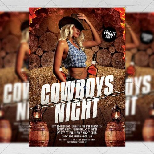PSD Club A5 Template - Cowboys Night Flyer