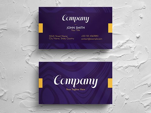 Simple Purple Business Card Layout with Yellow Accent 271451281 PSDT