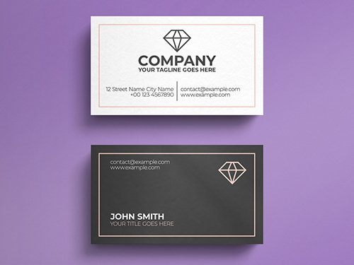 White and Grey Business Card Layout with Diamond Logo 271451206 PSDT