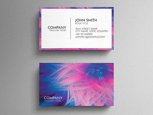 Blue And Pink Business Card Layout with Colorful Abstract Floral Design 271838780 PSDT