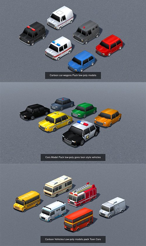 cartoon vehicles mega pack - lowpoly models 3D Model Collection