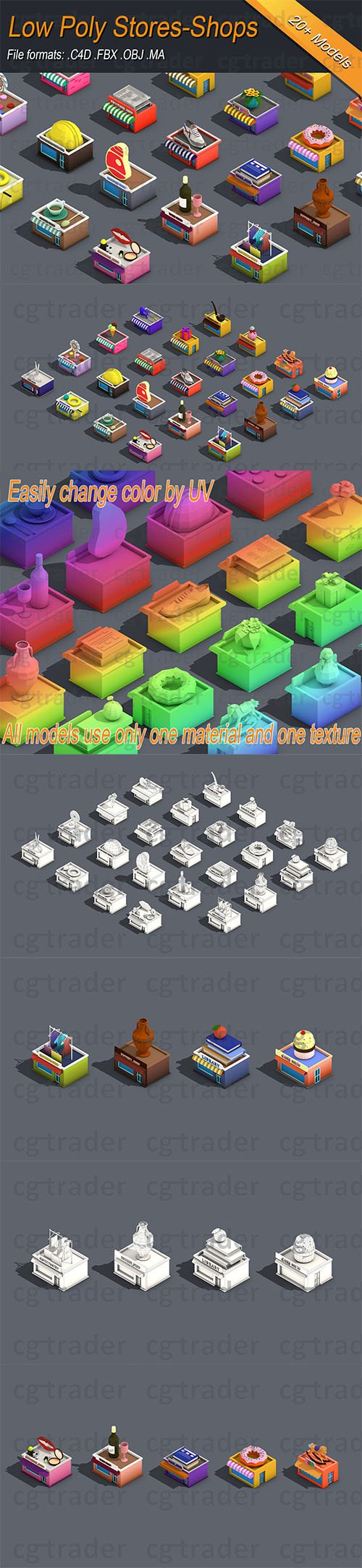 Low poly Stores Shops Isometric Low-poly 3D model