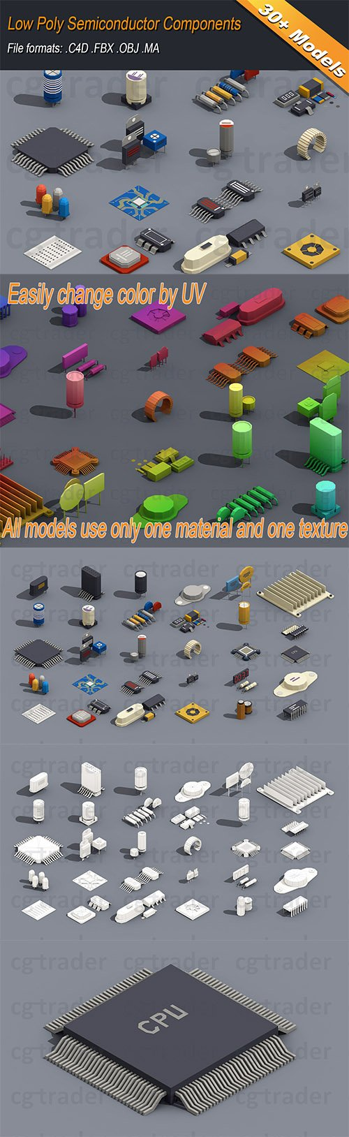 Low Poly Semiconductor Components Isometric Low-poly 3D model