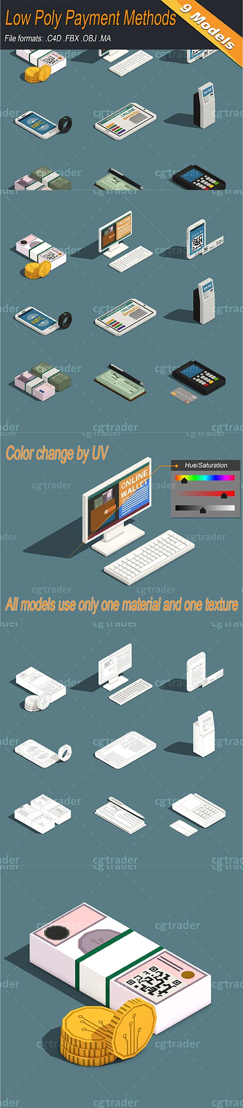 Low Poly Payment Methods Isometric Low-poly 3D model