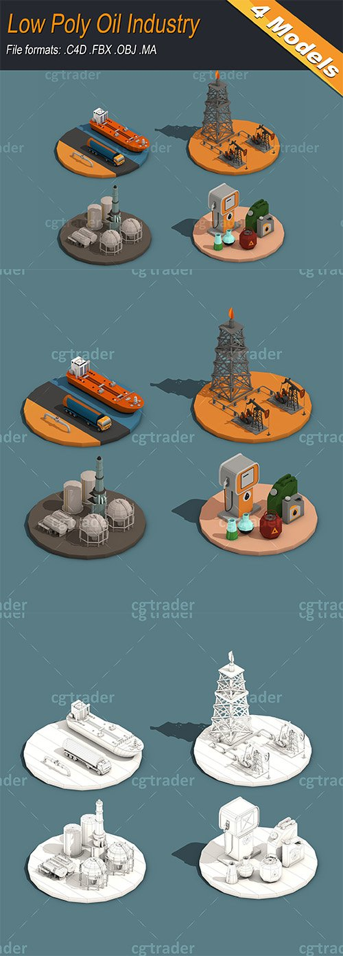Low Poly Oil Industry Isometric Low-poly 3D model