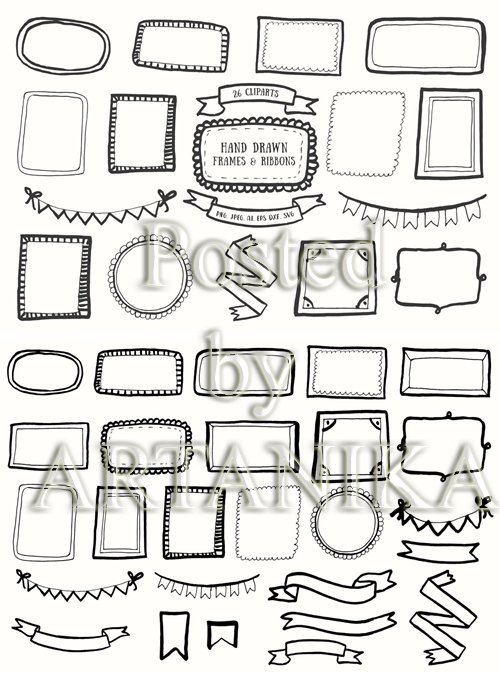 20+ Handdrawn Frames and Ribbons Clipart