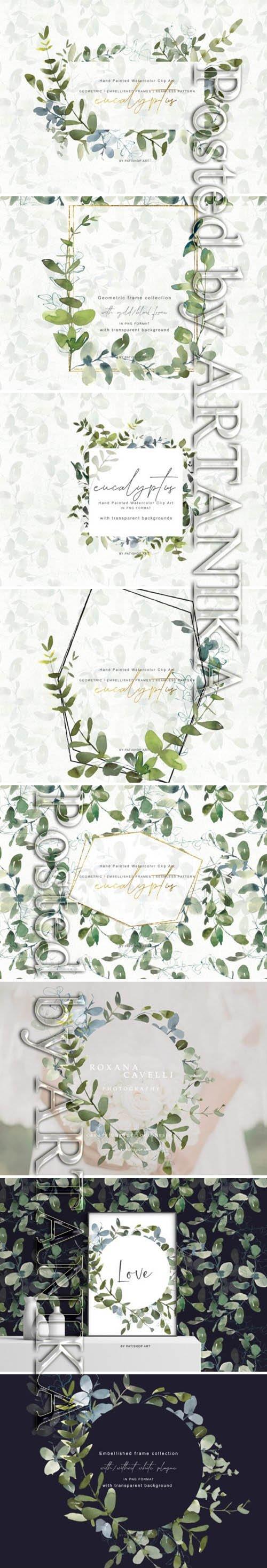 Watercolor Eucalyptus Clipart Collection 1505798
