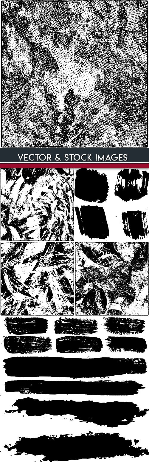 Grunge black texture and ink brush illustration
