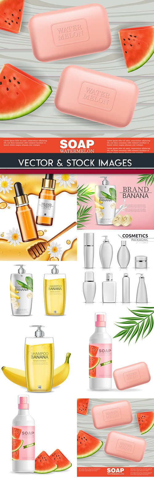 3D cosmetic bottle and packing mock-up illustration