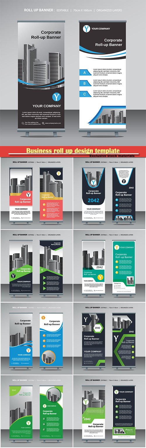 Business roll up design template with city background