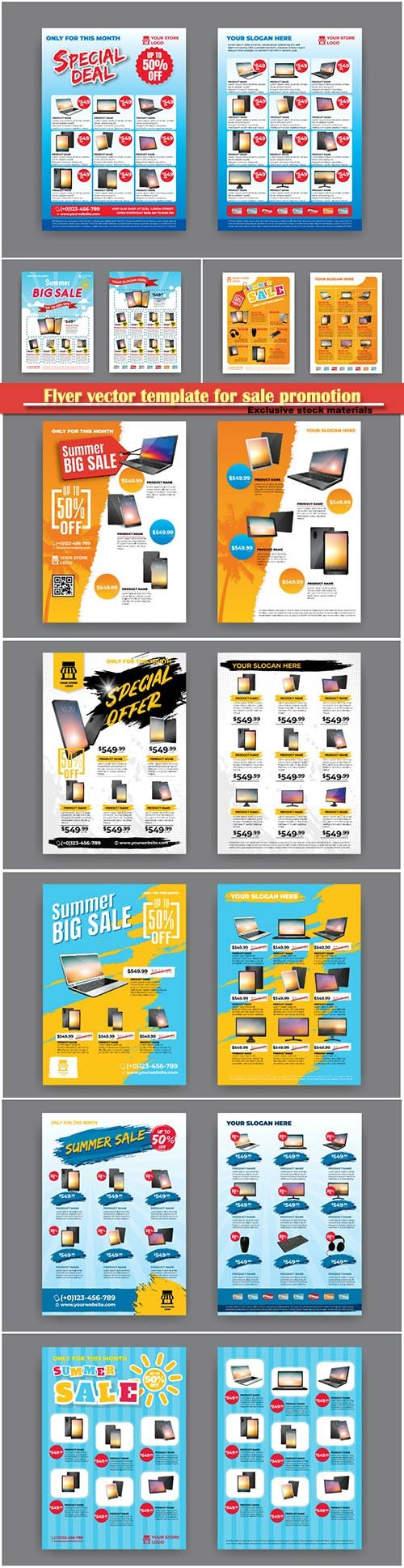 Flyer vector template for sale promotion