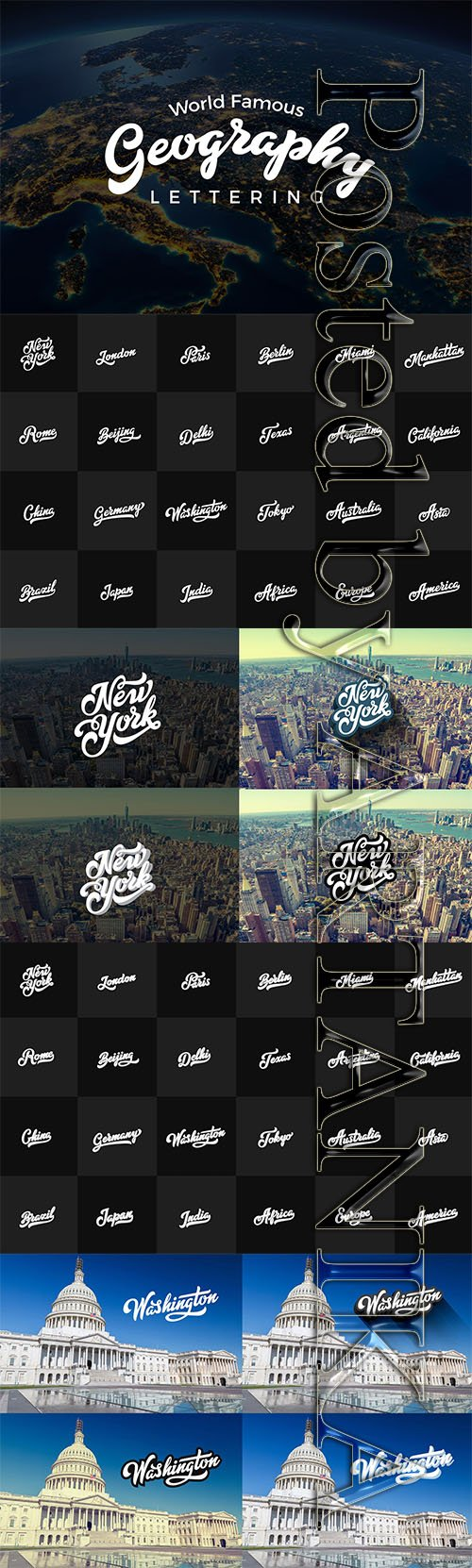 Geographic Lettering Vector Collection