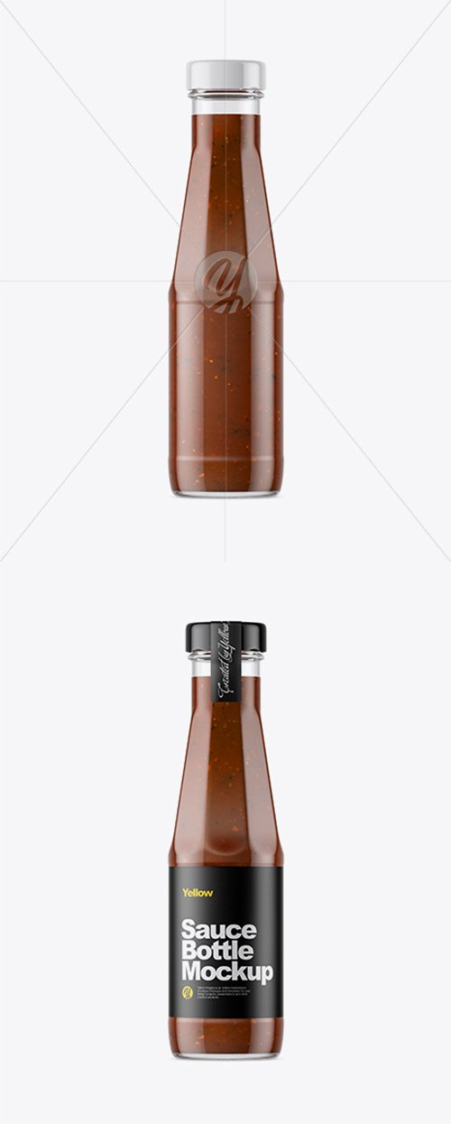 Clear Glass Bottle with BBQ Sauce Mockup 33373 TIF