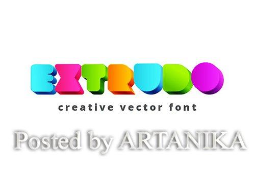 Extrudo Creative Font