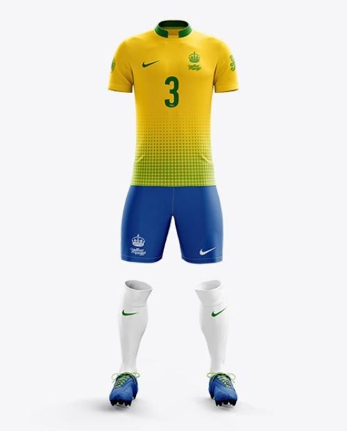 Men's Full Soccer Kit with Mandarin Collar Shirt Mockup (Front View) 13651 TIF