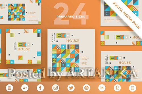 GR - Eco House Social Media Pack PSD and EPS Template