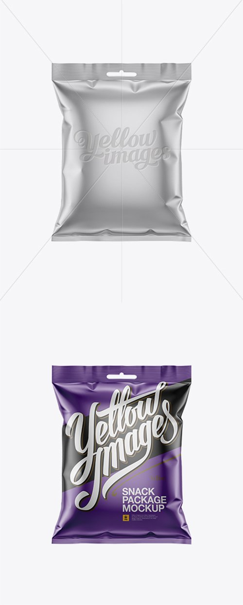Matte Metallic Snack Package Mockup - Front View 15900 TIF