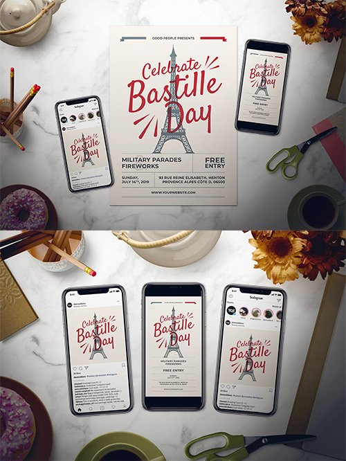 Bastille Day PSD and AI Flyer Set