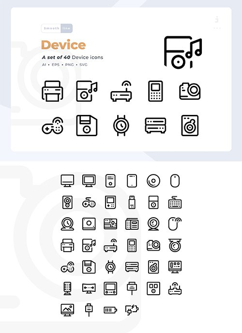 40 Technology and Device Vector Icon Set