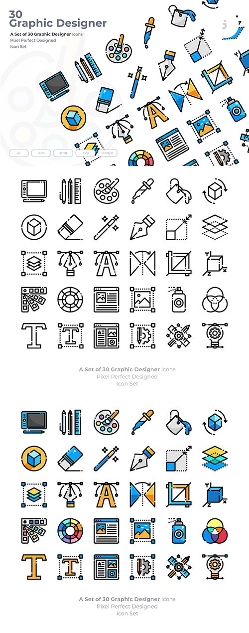 30 Graphic Design Vector Icons