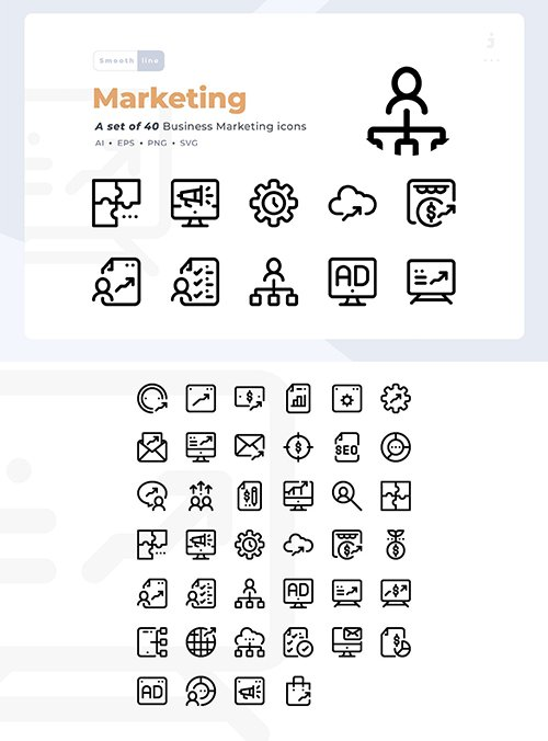 40 Business Marketing Vector Icon Set