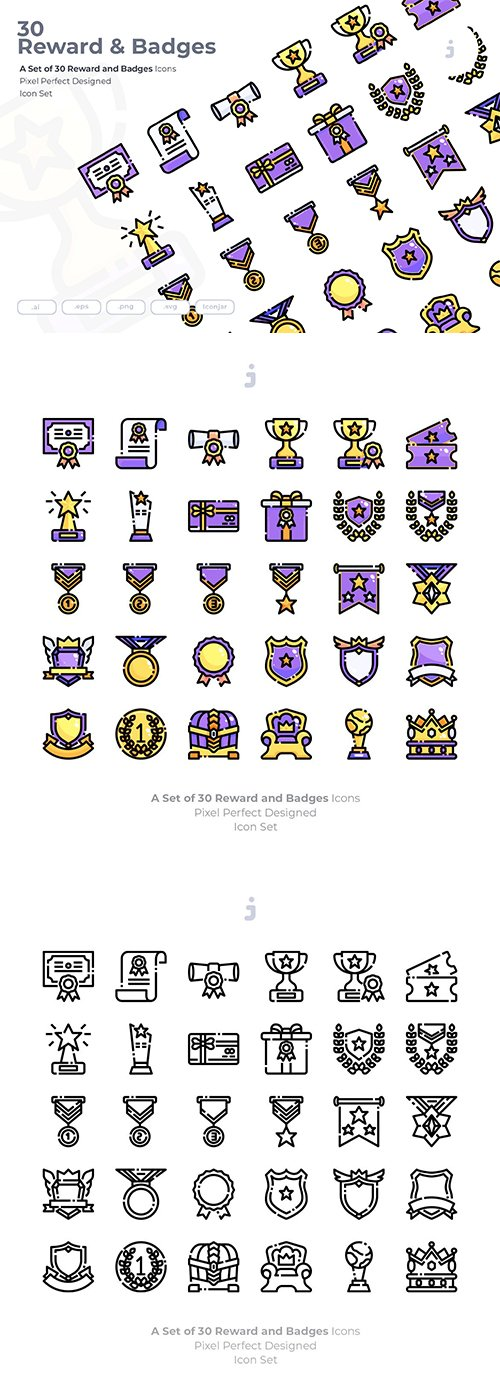 30 Reward & Badges Vector Icons