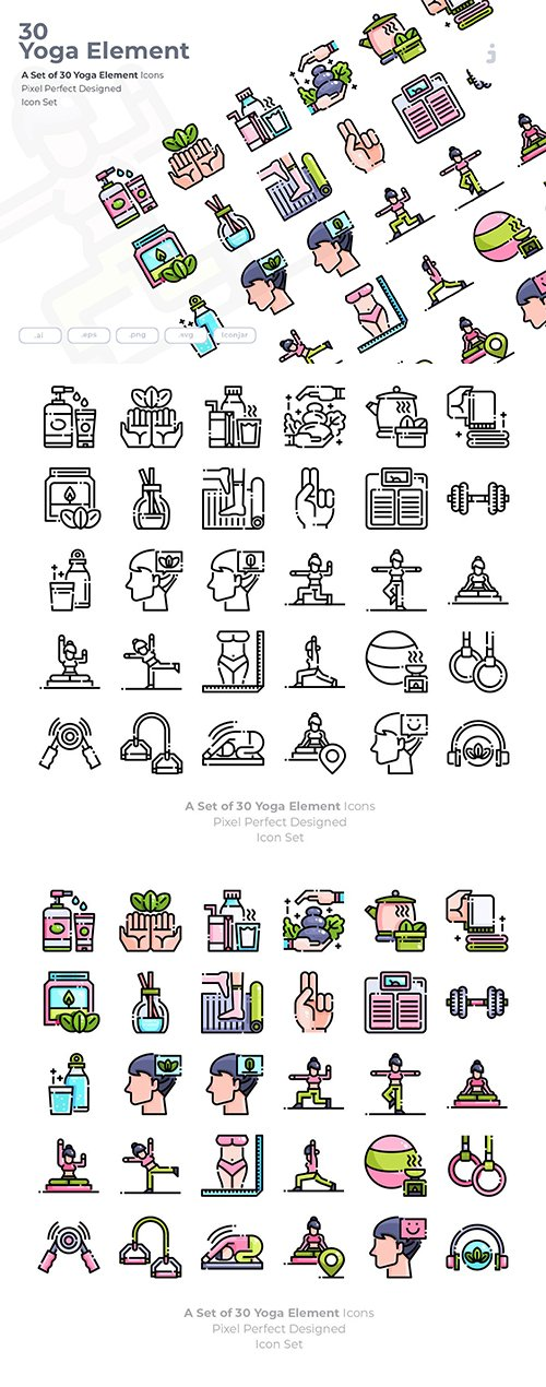 30 Yoga Element Vector Icons
