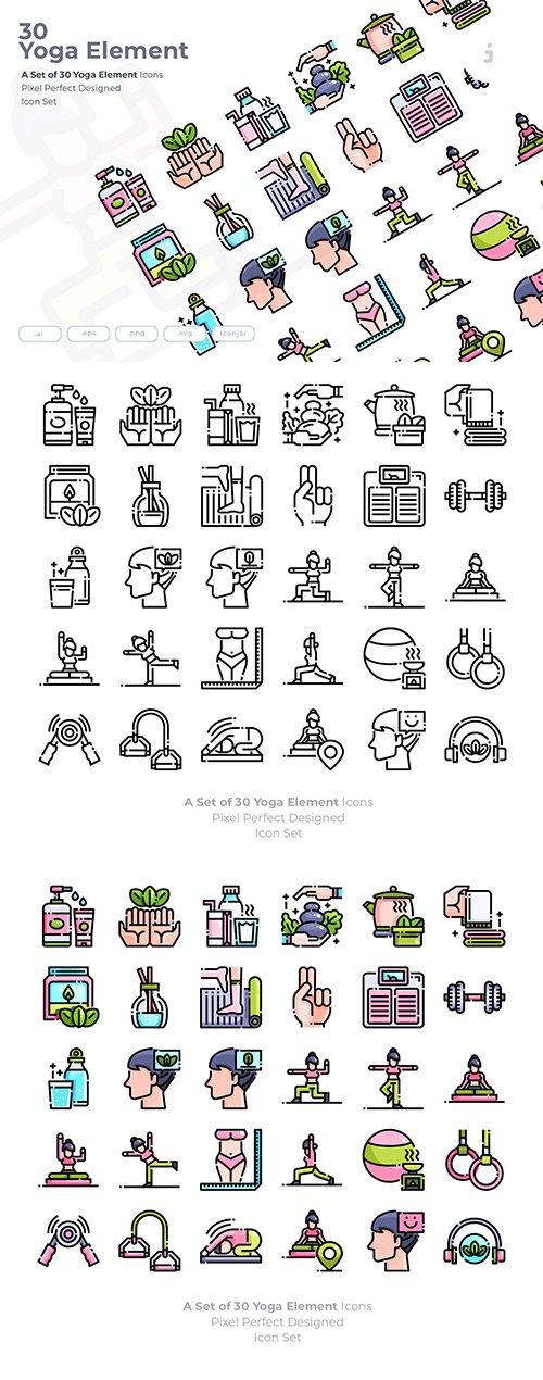 30 Yoga Element Vector Icons