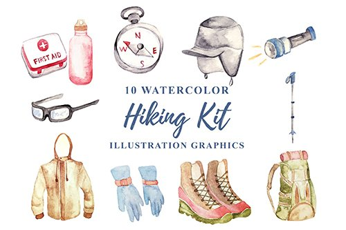 10 Watercolor Hiking Kit Illustration PNG Graphics