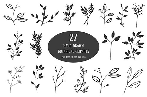 20+ Handdrawn Botanical Vector Cliparts Set