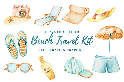 10 Watercolor Beach Travel Kit PNG Illustration