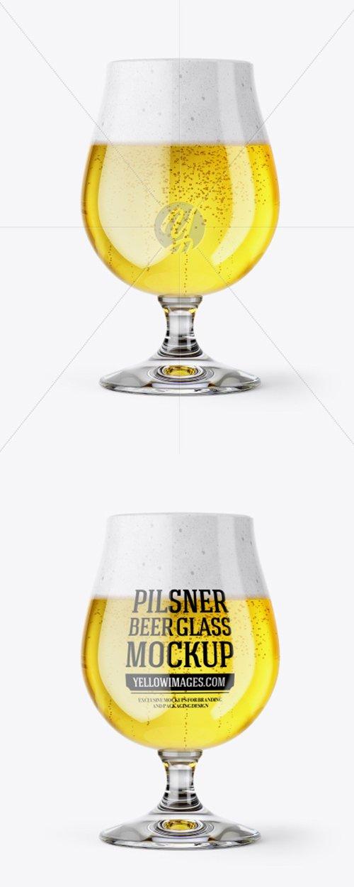 Tulip Glass With Pilsner Ale Mockup 43360 TIF