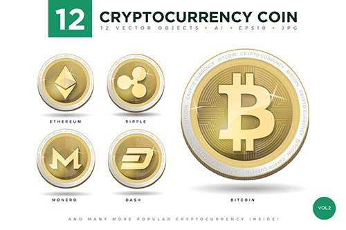 12 Crypto Currency Coin Illustration Set 2