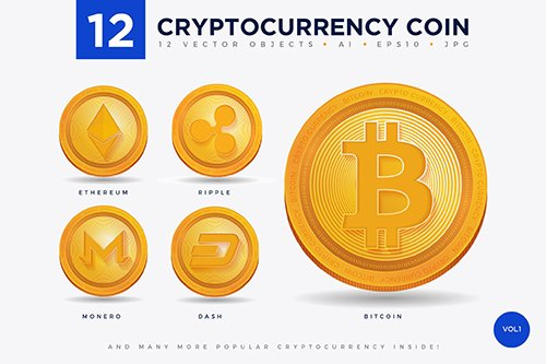 12 Crypto Currency Coin Illustration Set 1