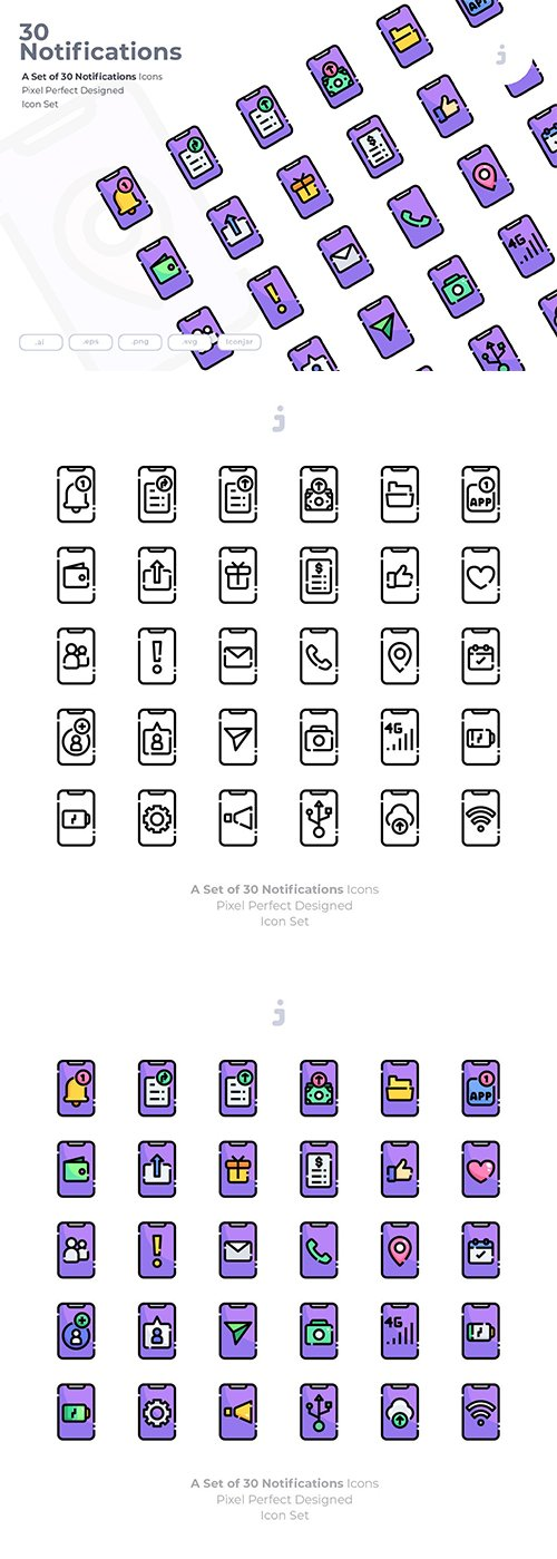 30 Notifications Vector Icons