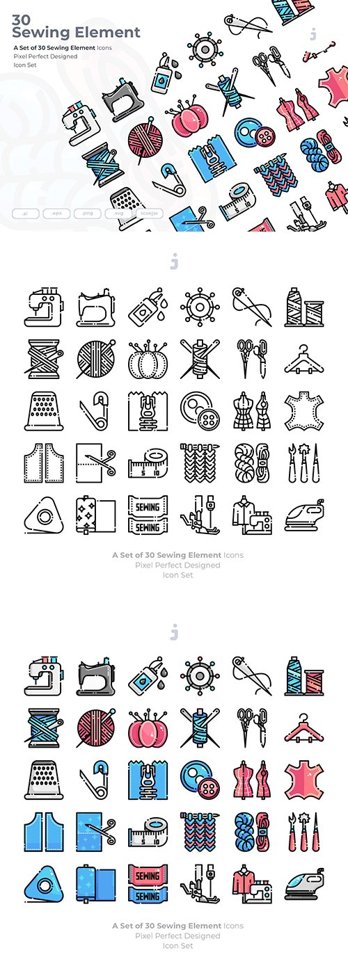 30 Sewing Vector Icons