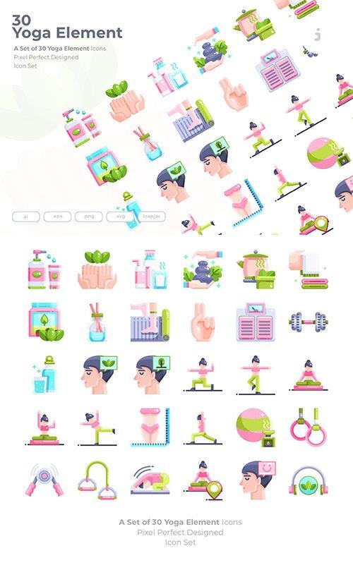30 Yoga Element Vector Icons - Flat