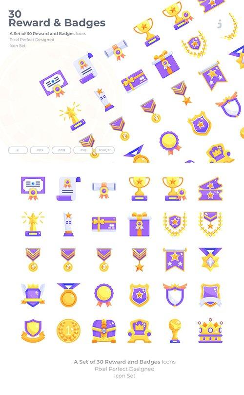30 Reward & Badges Vector Icons - Flat