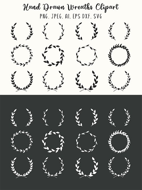 12 Hand Drawn Wreaths Vector and PNG Clipart