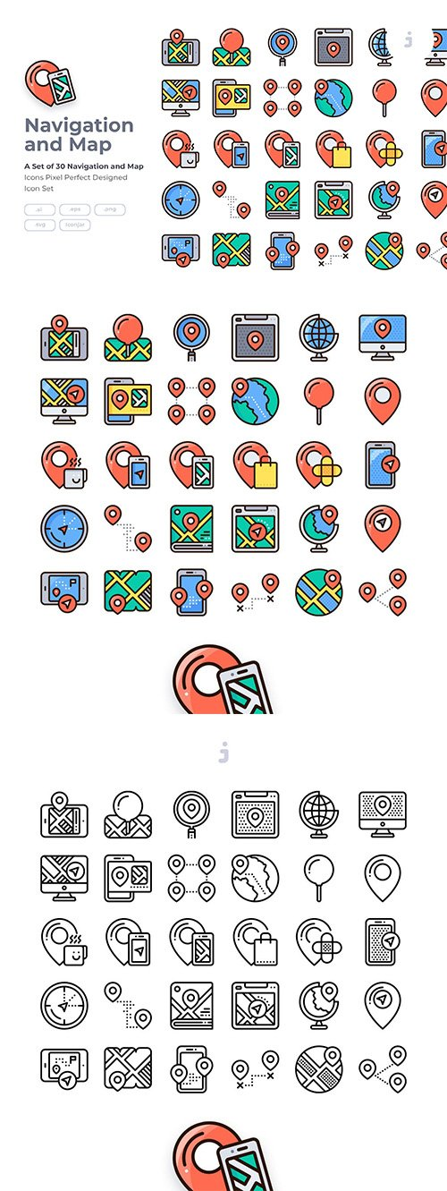 30 Navigation Icon Vector set - Detailed Round line