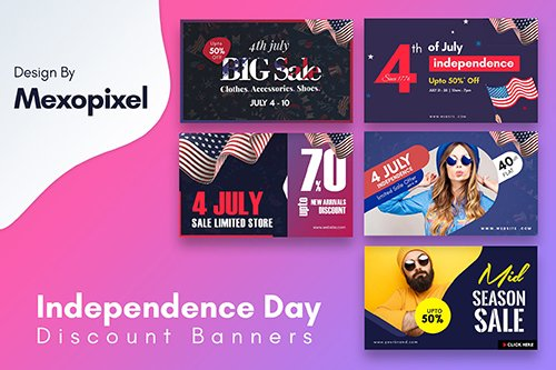 Independence Day Discount PSD Banners