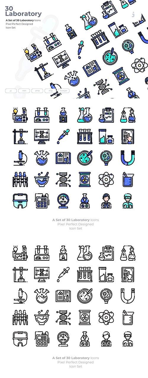30 Laboratory Vector Icons