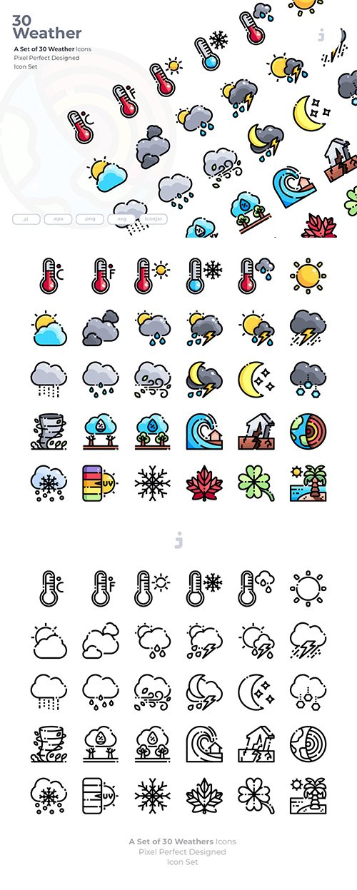 30 Weather Vector Icons