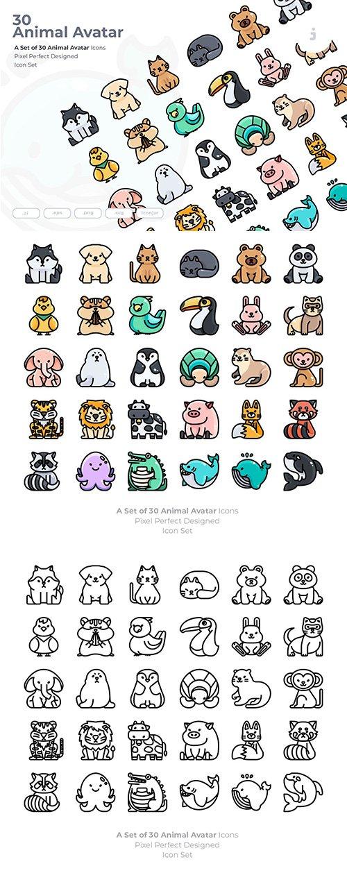 30 Animal Avatar Vector Icons