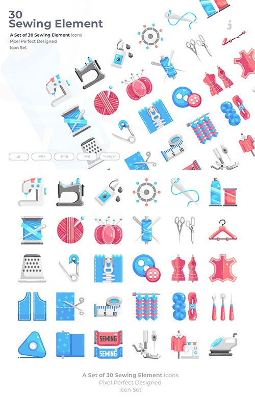 30 Sewing Element Vector Icons - Flat